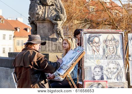 Artist On Charles Bridge Prague, Czech Republic