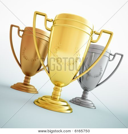 Gold, silver and bronze - three shiny trophies