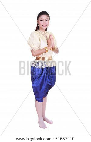 Woman Wearing Typical Thai Dress Pay Respect Isolated On White Background