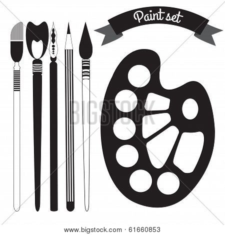 Set Of Art And Paint Supplies Vector