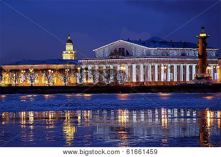 Spring break up on the Neva River in St. Petersburg at the arrow of Vasilevsky Island in the evening