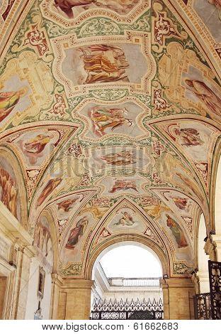 Painted Ceiling In The Loggia Delle Benedizioni, Rome, Italy