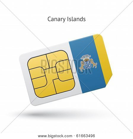 Canary Islands mobile phone sim card with flag.