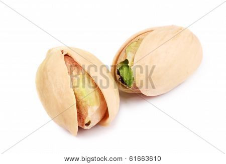 Two pistachios close-up.
