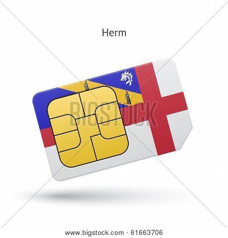 Herm mobile phone sim card with flag.