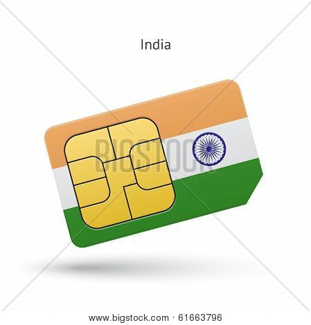 India mobile phone sim card with flag.