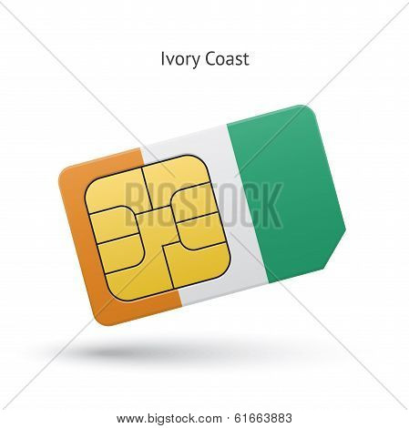 Ivory Coast mobile phone sim card with flag.