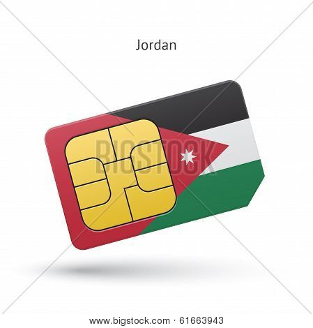 Jordan mobile phone sim card with flag.