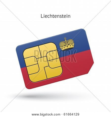 Liechtenstein mobile phone sim card with flag.