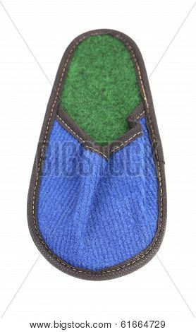 Bright blue and green slipper.