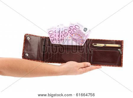 Opened purse with euro bills on hand.