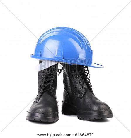 Hard hat and working boots.