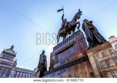 Saint Wenceslas Statue On Vaclavske Namesti In Prague
