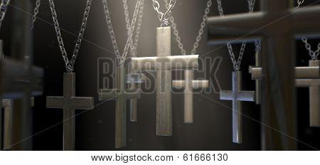 Hanging Metal Crucifixes