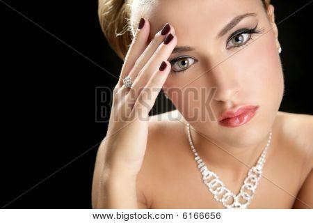 Blond Elegant Thinking Fashion Woman