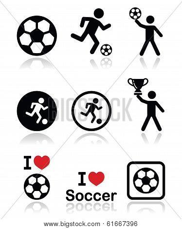 I love football or soccer, man kicking ball vector icons set