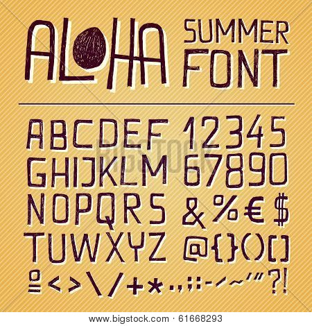 Aloha Summer Hand Drawn Font - Yellow Background