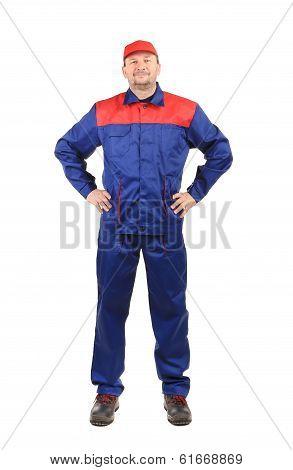 Worker inred-blue workwear.