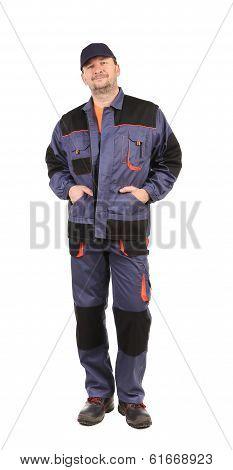 Worker wearing worksuit.