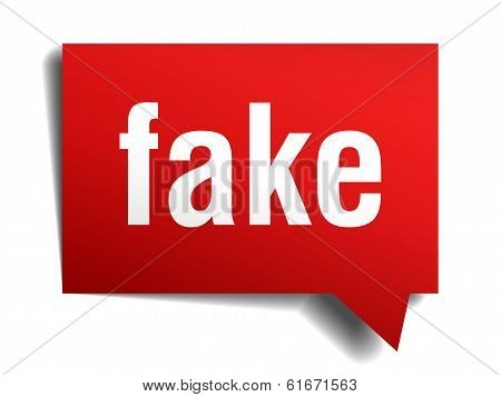 Fake Red 3D Realistic Paper Speech Bubble Isolated On White