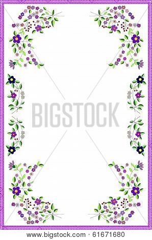 arrangement of painterd flowers as pattern for tablecloth