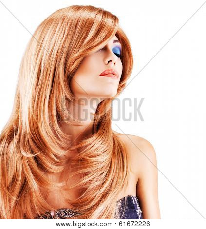 Portrait of a woman with long red hairs  isolated on white background