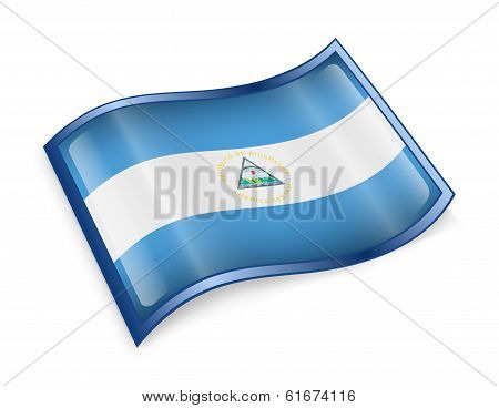 Nicaragua Flag Icon, Isolated On White Background.