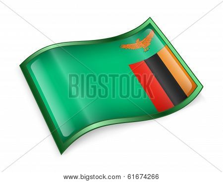 Zambia Flag Icon, Isolated On White Background.