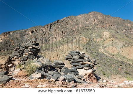 Ruins of a wall in the mountains