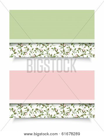 Business cards with rose patterns. Vector EPS-10.
