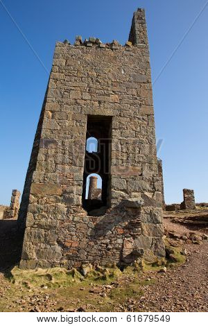 Ruins of Cornish tin mine near St Agnes Beacon Cornwall on the South West Coast Path