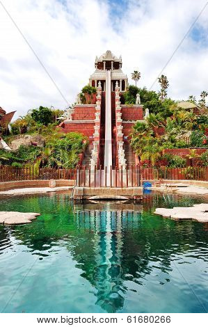 Tenerife Island, Spain - May 22: The Tower Of Power Water Attraction In Siam Waterpark On May 22, 20
