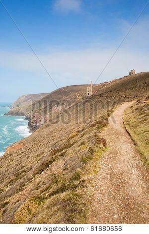 South West Coast Path Cornwall England UK a tin mine near St Agnes Beacon known as Wheal Coates