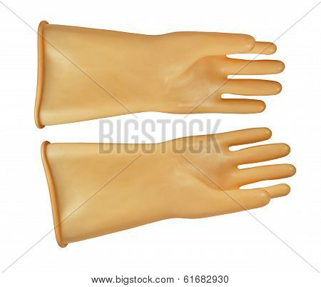 Gloves, Insulating Rubber On White Background