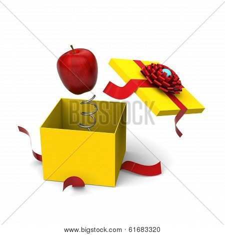 Apple springing out from a gift box