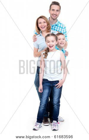 Full portrait of the happy european family with children looking at camera -  isolated on white background