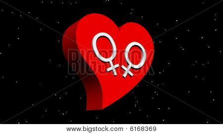Lesbian couple in red heart in the night