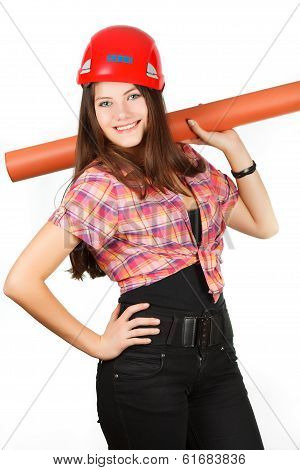 a girl in a helmet holds a paper roll on shoulders