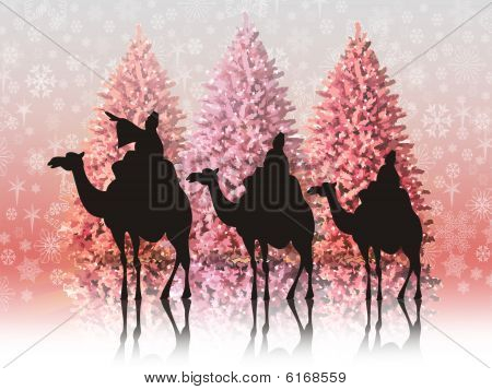 Christmas Landscape With The Three Wise Men