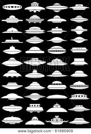Vintage UFO Flying Saucer Shapes Silhouettes on black Background