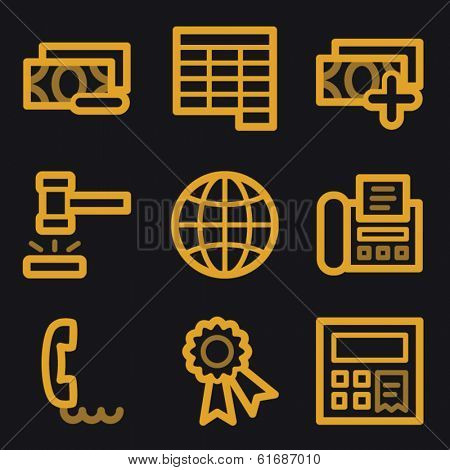 Finance web icons, gold line set
