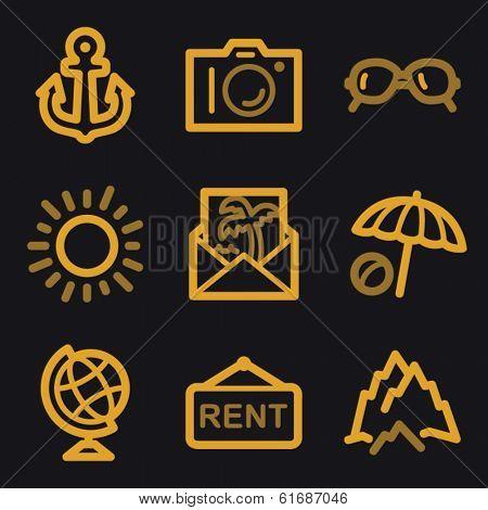 Travel web icons, gold line set