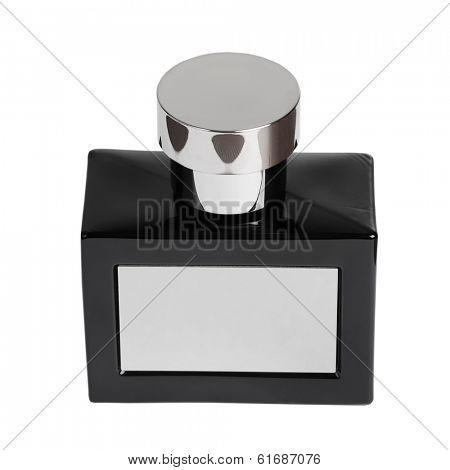 Black perfume bottle isolated on white