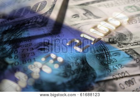 Detail of credit cards and cash symbolizing financial spending commerce economy