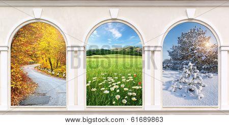 Windows of seasons. Element of design.