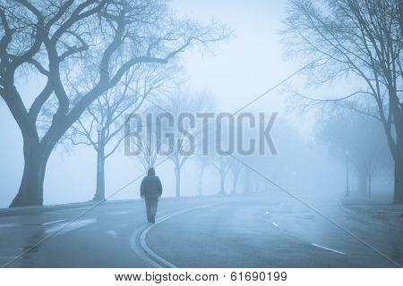 Man walks into foggy road