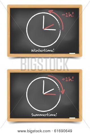 detailed illustration of blackboards with daylight saving clocks, eps10 vector, gradient mesh included