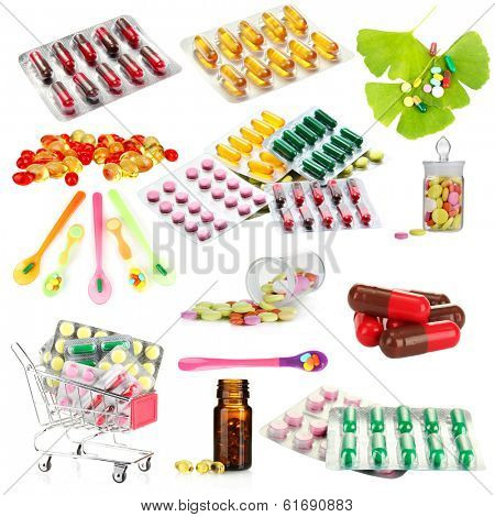 Collage of pharmaceutical products isolated on white