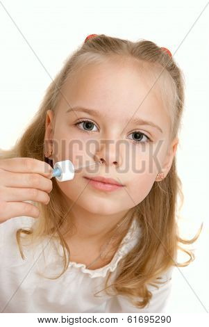 Little Girl Takes Nose Drops