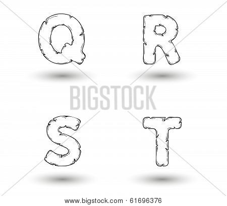 Sketch Jagged Alphabet Letters, Q, R, S, T